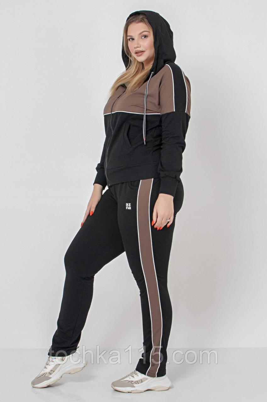 Стильный женский костюм, (XL/2XL/3XL/4XL), цвет черный с коричневым