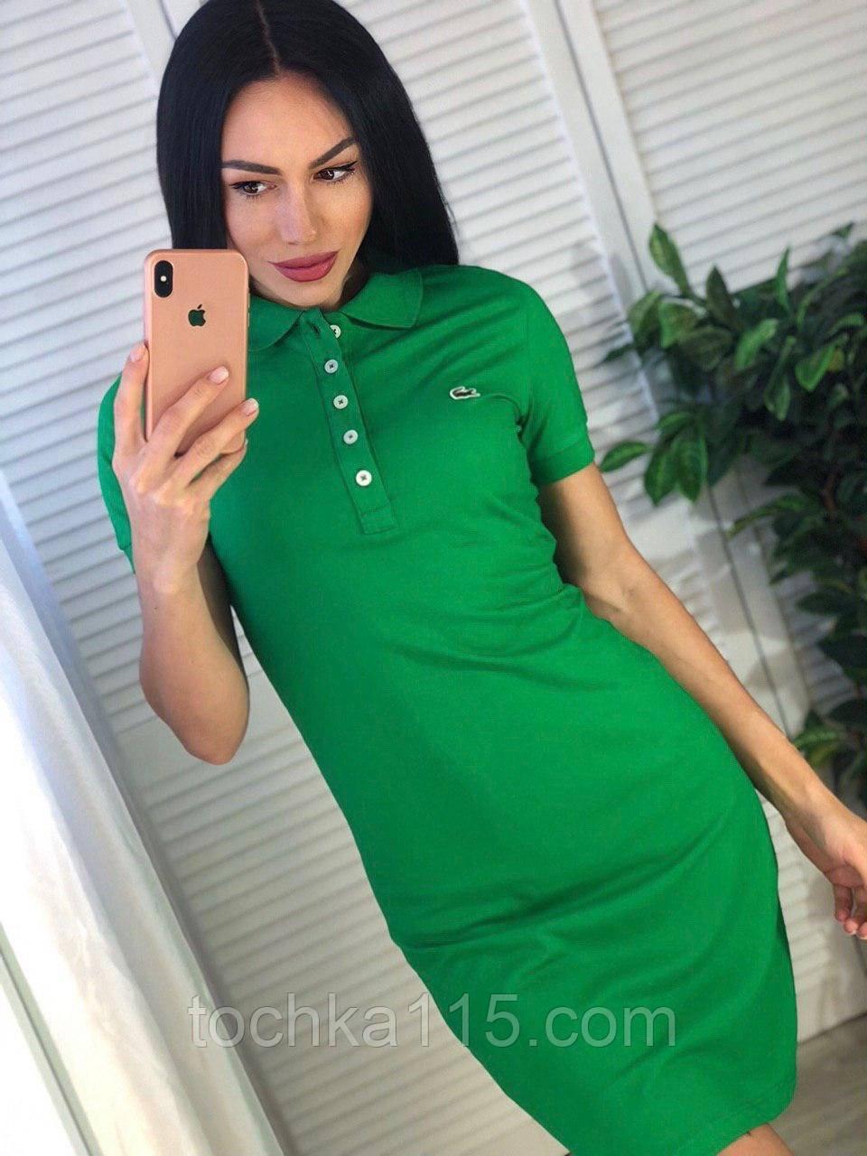 Спорт платье, в стиле Lacoste, очень стильное, S/M/L/XL/XXL, цвет зеленый