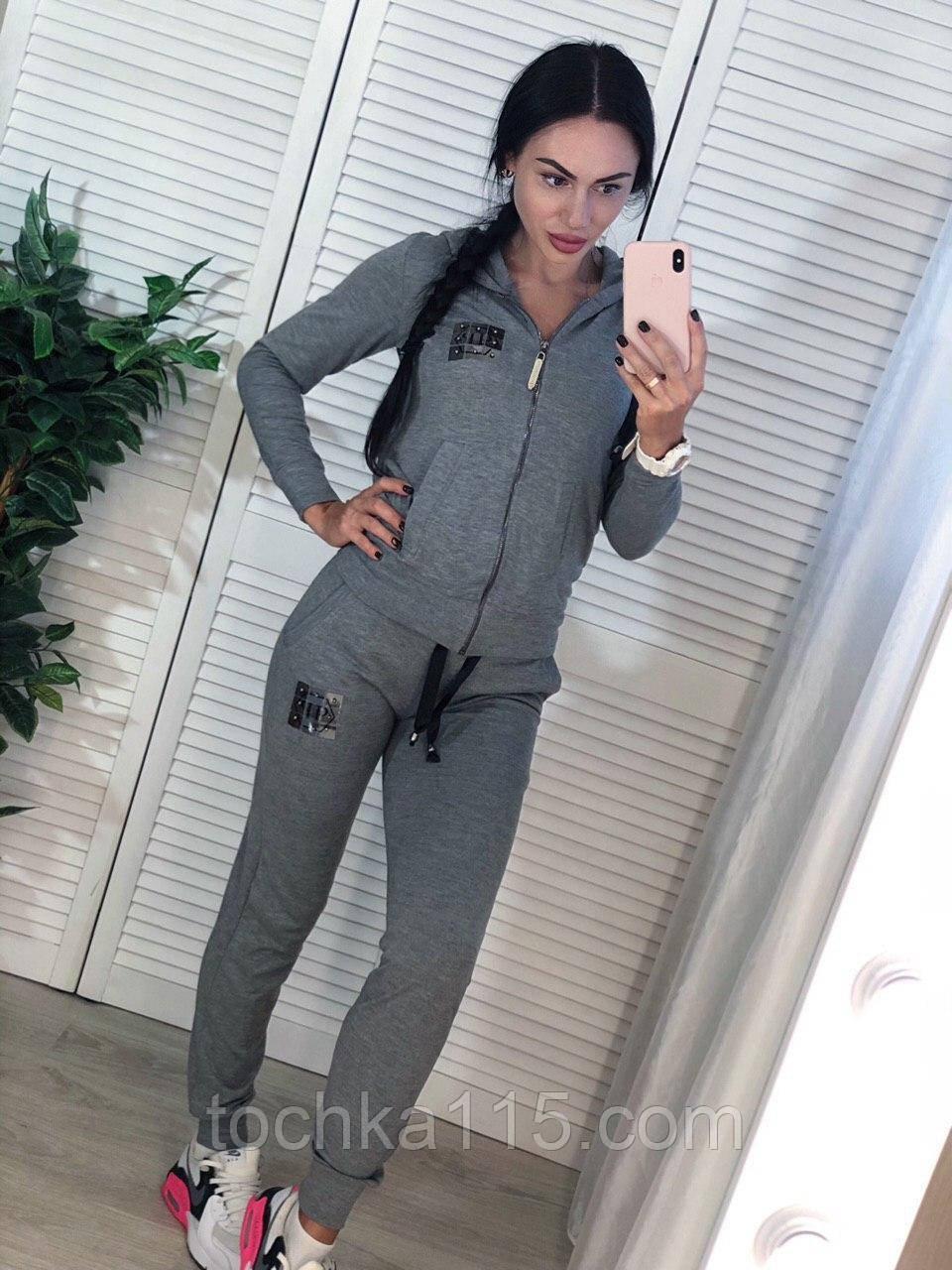 Стильный спортивный костюм, турецкий трикотаж, S/M/L/XL, цвет серый