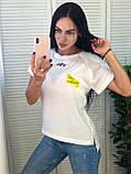Женская футболка на лето, легкая футболка для девушек S/M/L/XL черная, фото 2
