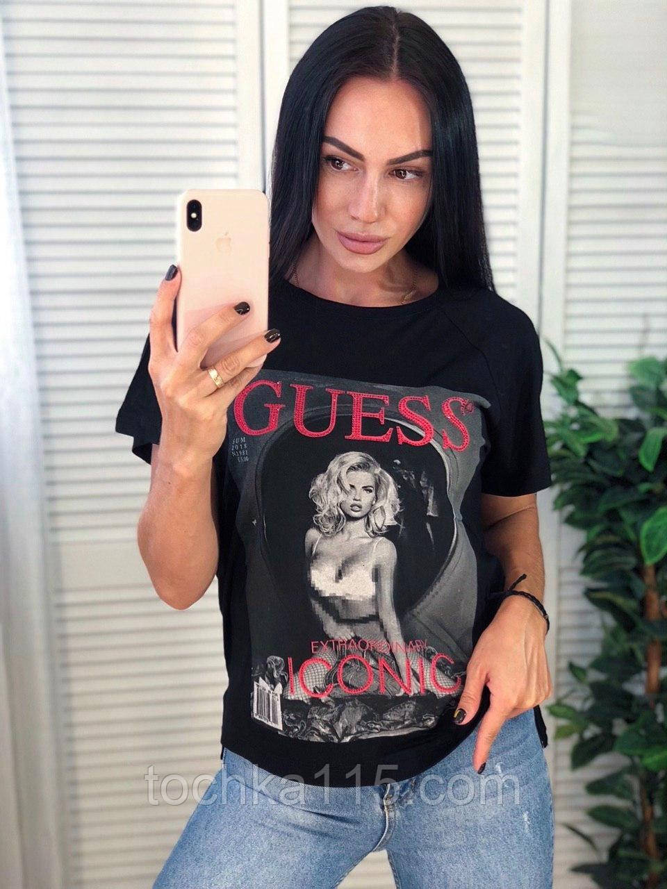 Стильная футболка,  очень легкая, Guess, S/M/L/XL, черная