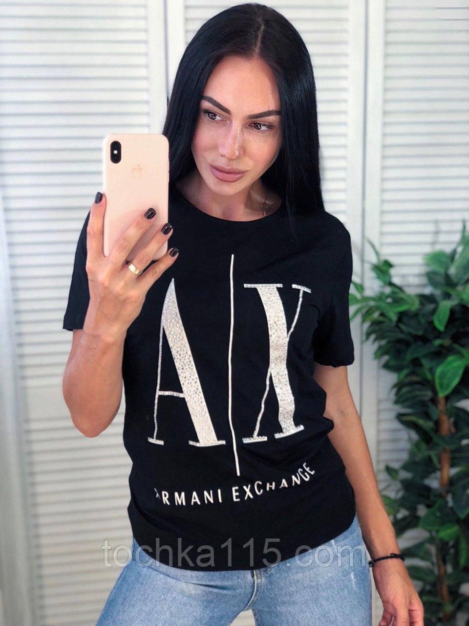 Легкая стильная футболка, Armani, S/M/L/XL, цвет черный