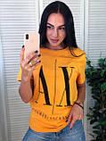 Легкая стильная футболка, Armani, S/M/L/XL, цвет черный, фото 3
