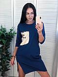 Ніжне легке плаття-туніка, тканина бавовна, S/M/L/XL, колір чорний, фото 2