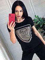 Летняя брендовая футболка, РР, S/M/L/XL, цвет черный