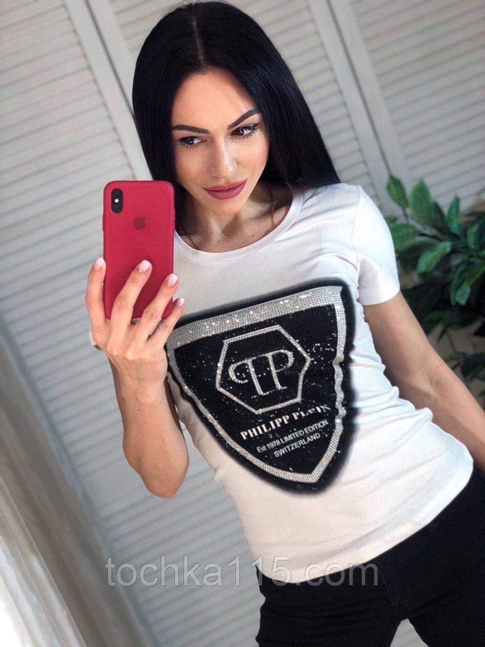 Летняя брендовая футболка, РР, S/M/L/XL, цвет белый