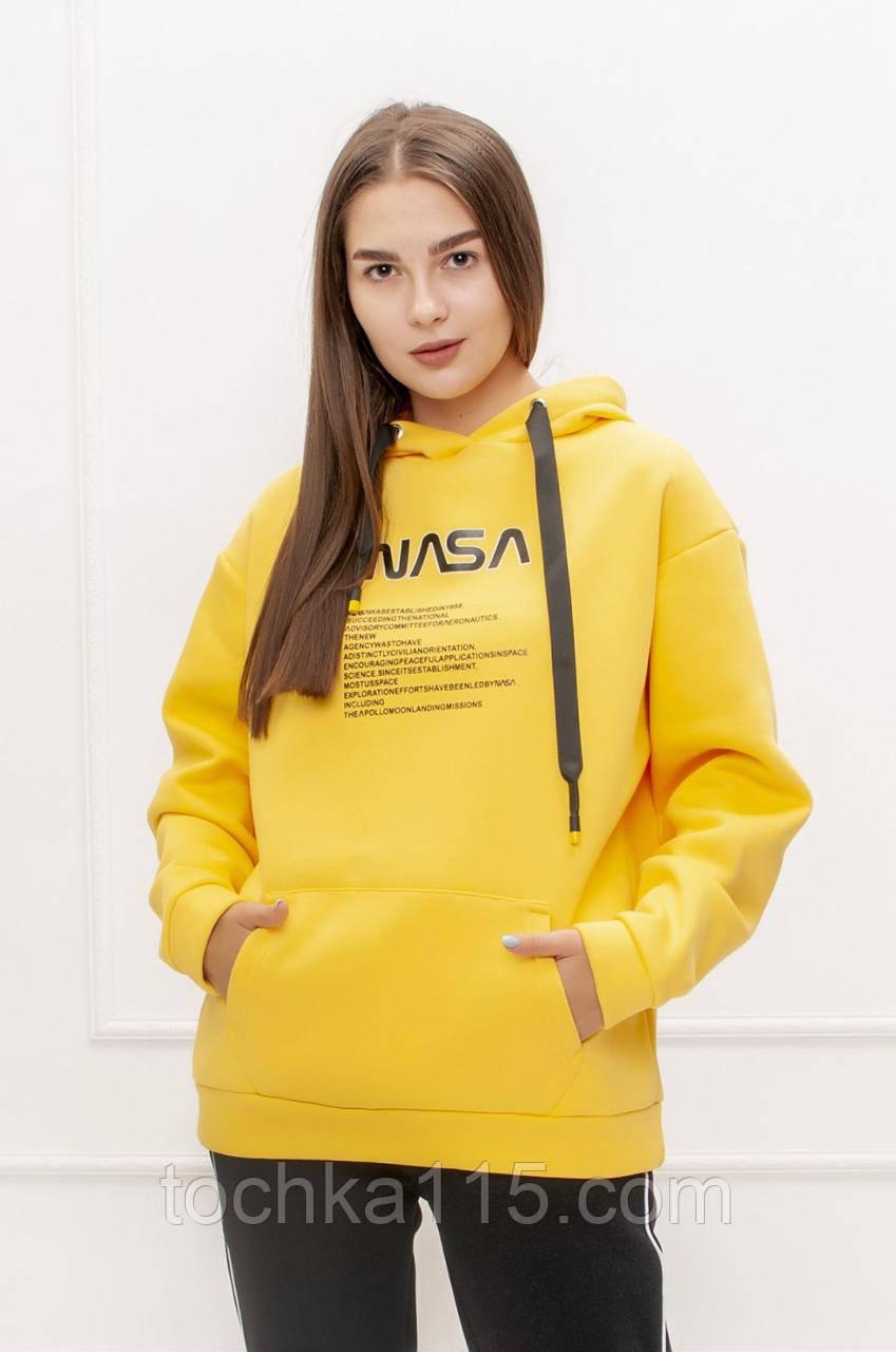 Теплый женский стильный батник, флис, XS/S/M/L, цвет желтый