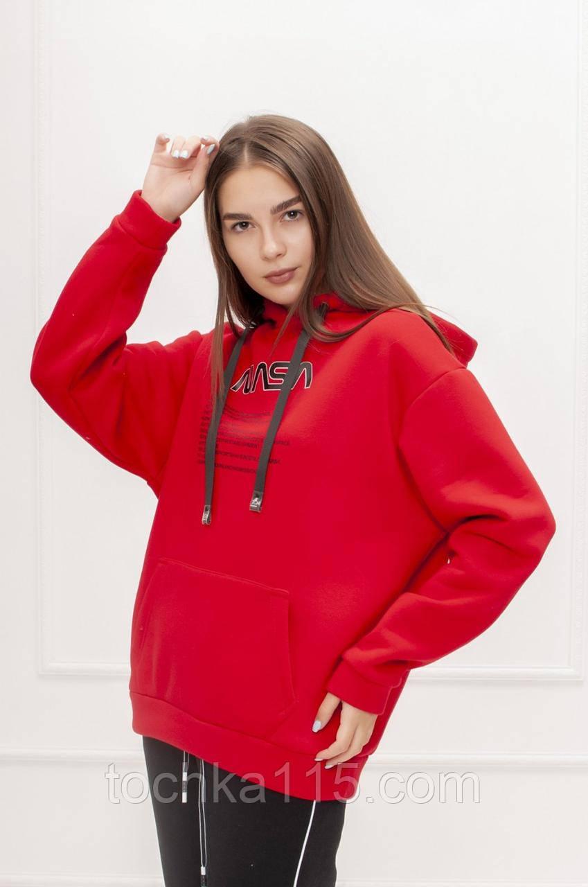 Теплый женский стильный батник, флис, XS/S/M/L, цвет красный