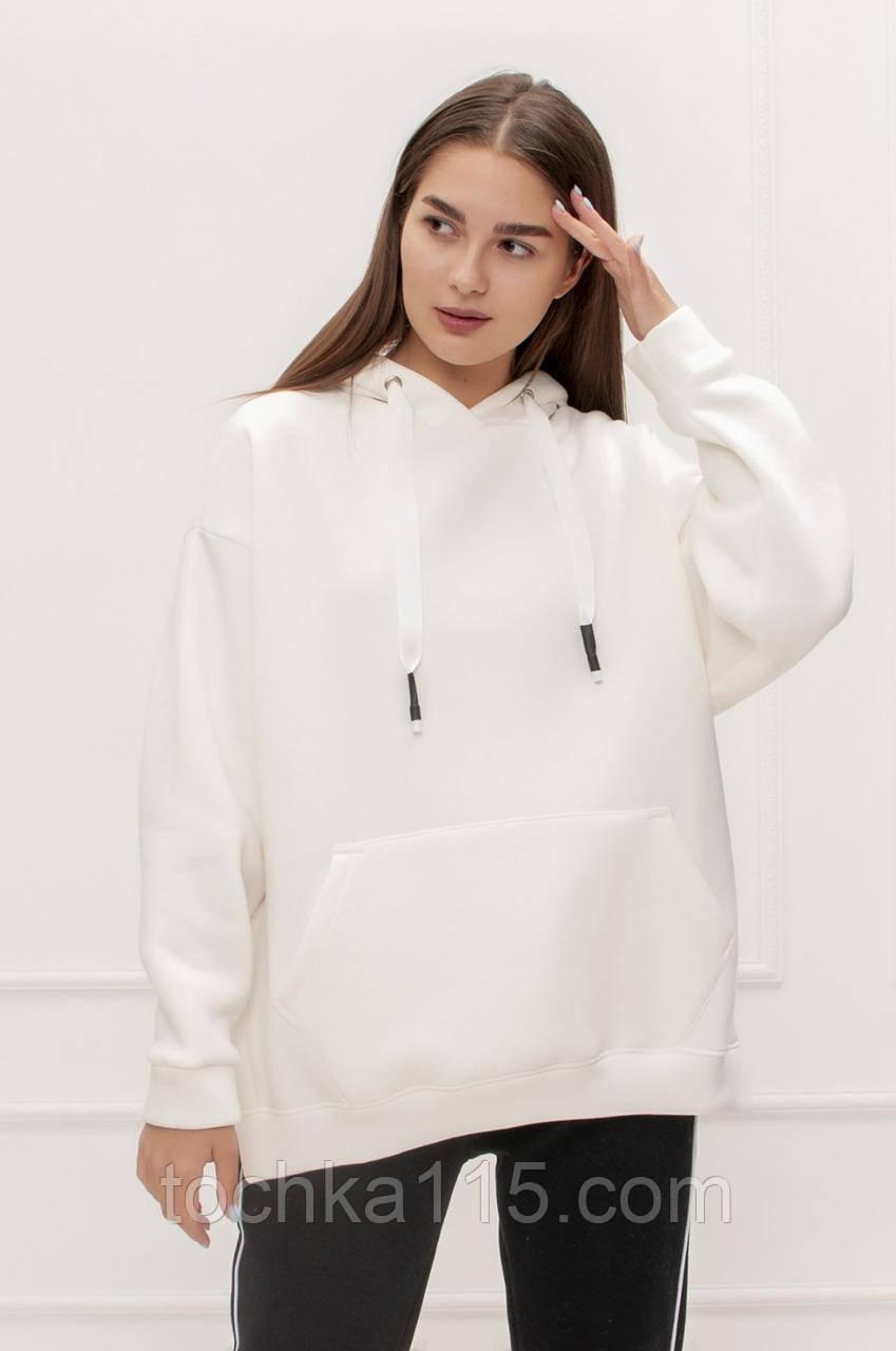 Стильне жіноче худі, фліс, XS/S/M/L, колір білий