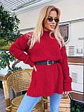 Женский удлиненный свитер, очень теплый, 42-46 р, цвет лиловый, фото 2