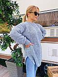 Женский удлиненный свитер, очень теплый, 42-46 р, цвет лиловый, фото 4