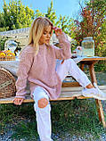 Женский удлиненный свитер, очень теплый, 42-46 р, цвет лиловый, фото 5