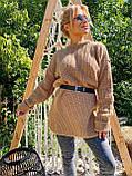Женский удлиненный свитер, очень теплый, 42-46 р, цвет лиловый, фото 6