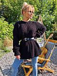 Женский удлиненный свитер, очень теплый, 42-46 р, цвет лиловый, фото 7