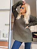 Женский удлиненный свитер, очень теплый, 42-46 р, цвет лиловый, фото 8
