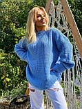 Женский удлиненный свитер, очень теплый, 42-46 р, цвет лиловый, фото 9