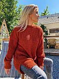 Женский удлиненный свитер, очень теплый, 42-46 р, цвет лиловый, фото 10
