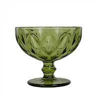 """Винтажная креманка из толстого стекла на ножке для десерта """"Rhombus large"""" зеленая, креманка цветная, креманка"""