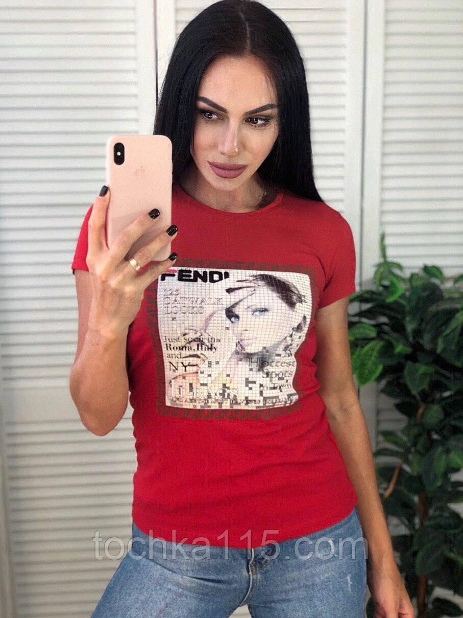 Брендовая футболка Fendi, очень стильная, S/M/L/XL, цвет красный