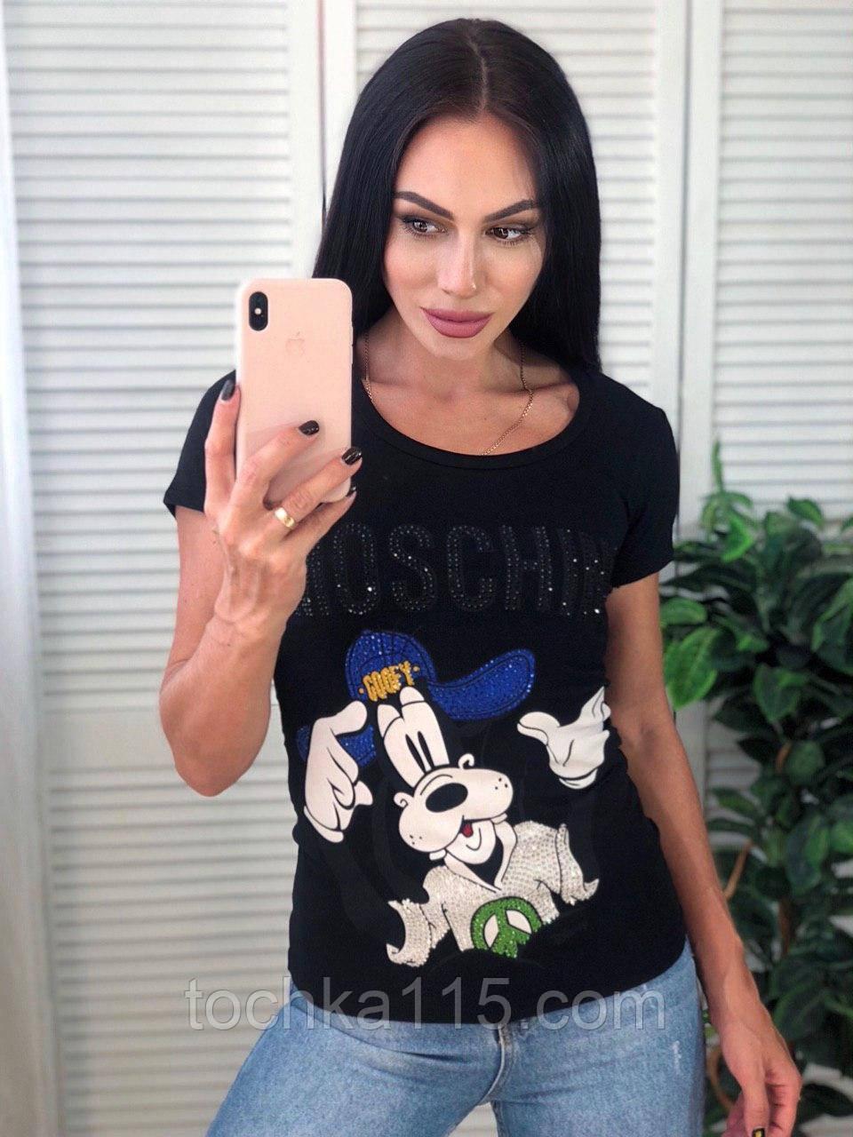Стильная женская футболка Moschino, S/M/L/XL, цвет черный