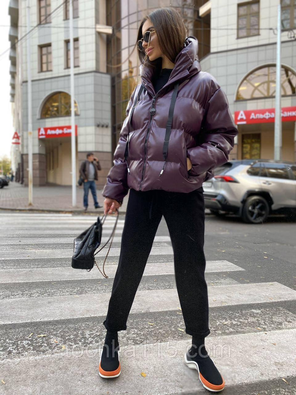 Куртка пуховик из экокожи  в стиле ZARA, S/M, цвет сливовый