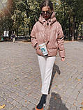 Куртка пуховик из экокожи  в стиле ZARA, S/M, цвет сливовый, фото 3