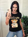 Брендовая женская летняя футболка Moschino, S/M/L/XL, цвет белый, фото 2