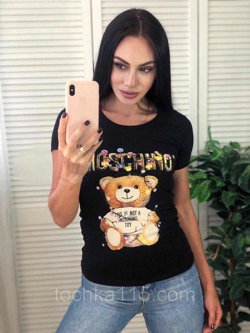 Брендовая женская летняя футболка Moschino, S/M/L/XL, цвет черный