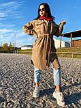 Трендовое кашемировое пальто в рубашечном стиле, 42-44, 46-48 рр, бежевый, фото 2