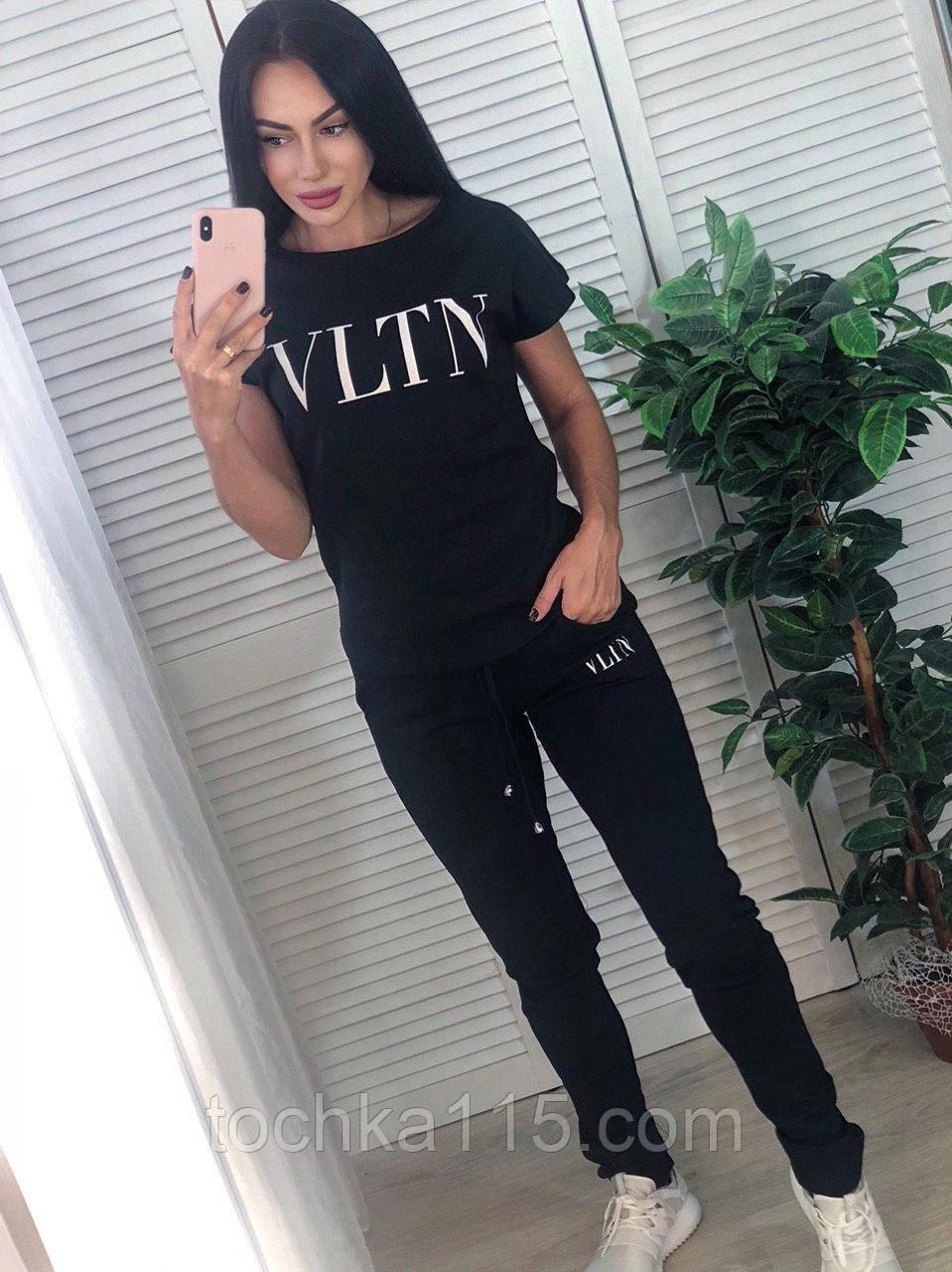 Женский летний костюм VLTN, турецкий трикотаж  S/M/L/XL, черный