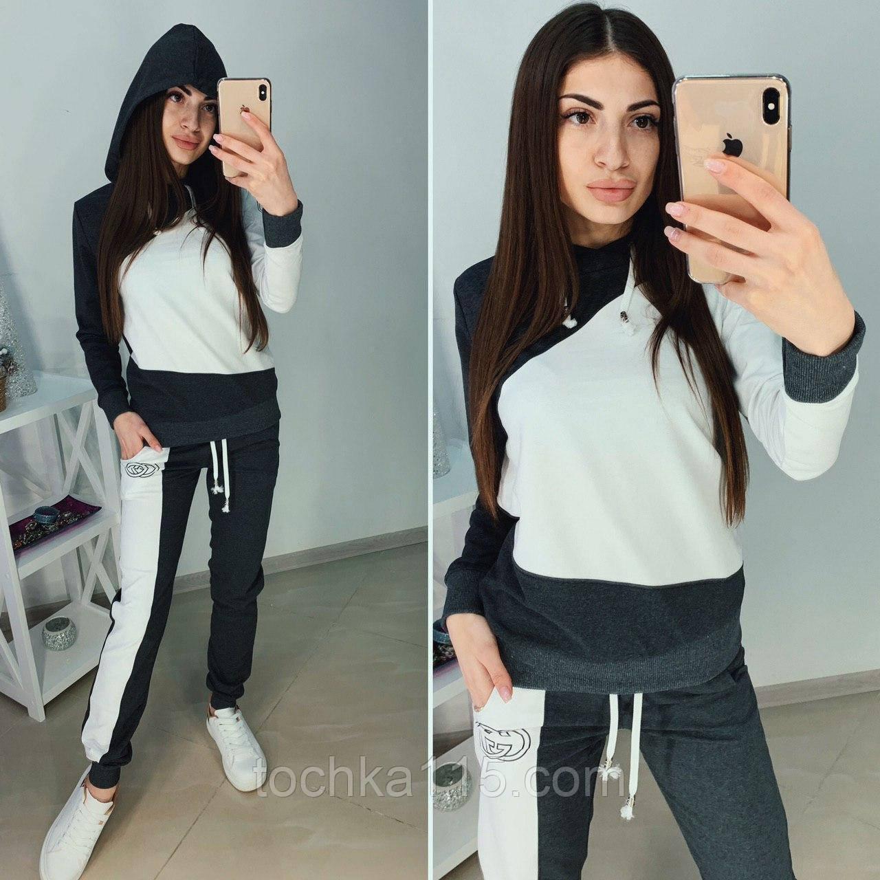 Трикотажный турецкий костюм серый весна/лето двухцветный размер 42-50