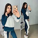 Трикотажный турецкий костюм серый весна/лето двухцветный размер 42-50, фото 5