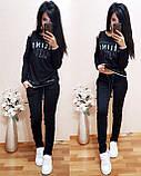 Женский однотонный черный спортивный костюм CELINE двухнитка весна/лето S/M/L/XL, фото 2