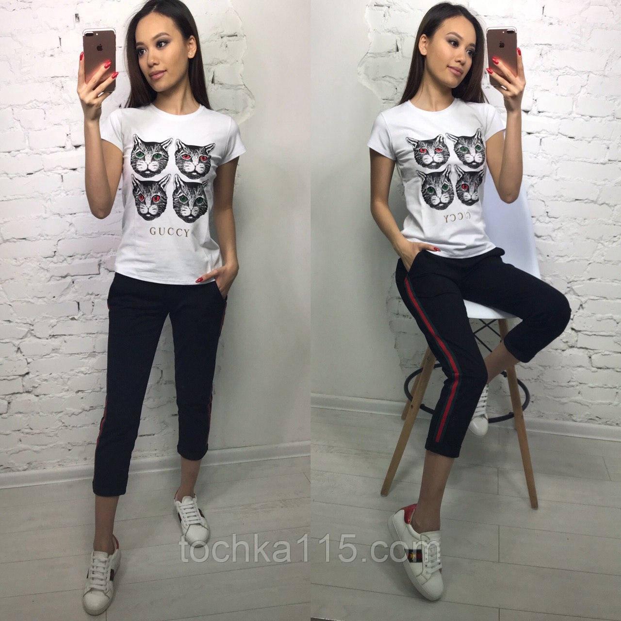 Стильная белая женская футболка на лето модный принт S/M/L/XL