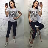 Стильная белая женская футболка на лето модный принт S/M/L/XL, фото 6