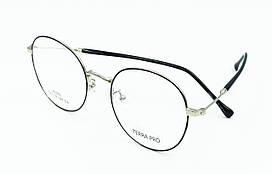 Оправа ободковая стильна, круглої форми, з тонкого чорного з білим металу, унісекс, Terra Pro