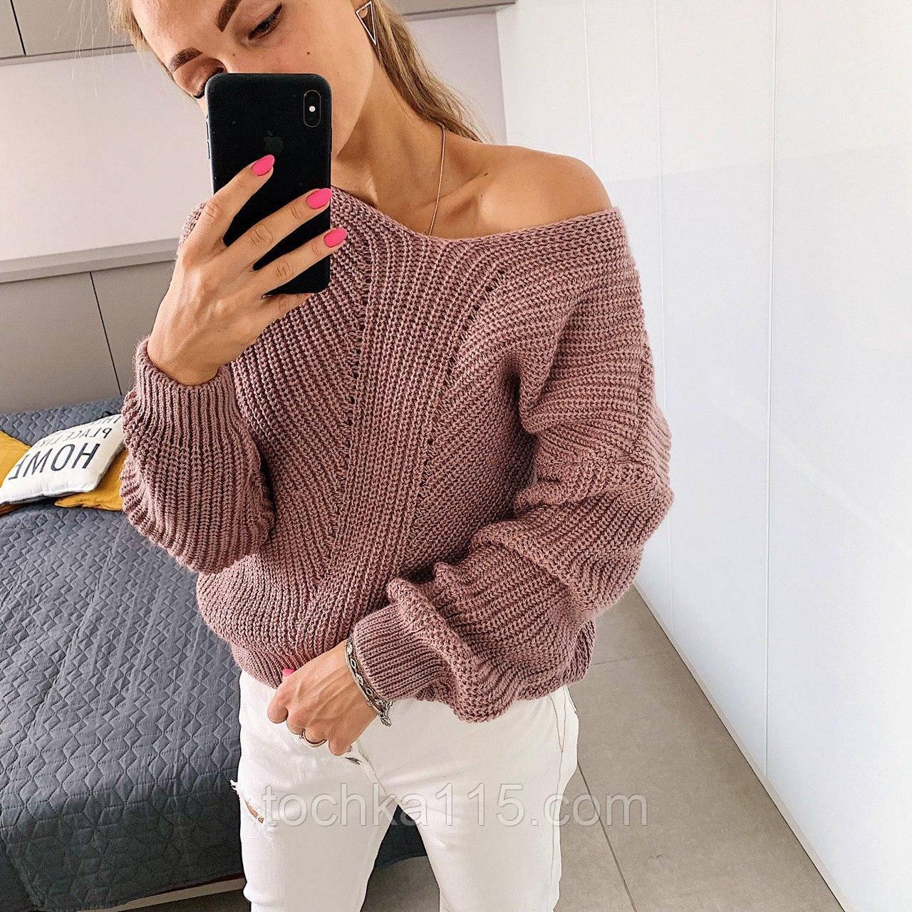 Ніжний в'язаний светр з коміром мис, 42-46 рр, колір пудра