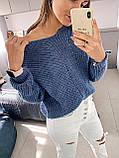Ніжний в'язаний светр з коміром мис, 42-46 рр, колір пудра, фото 2