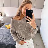 Ніжний в'язаний светр з коміром мис, 42-46 рр, колір пудра, фото 3