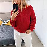 Ніжний в'язаний светр з коміром мис, 42-46 рр, колір пудра, фото 4