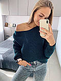 Ніжний в'язаний светр з коміром мис, 42-46 рр, колір пудра, фото 5