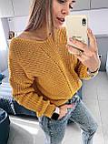 Ніжний в'язаний светр з коміром мис, 42-46 рр, колір пудра, фото 6
