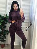 Стильный спортивный костюм, бархат люкс , 42-44, 46-48 рр, цвет бордо, фото 6