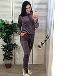 Стильный спортивный костюм, бархат люкс , 42-44, 46-48 рр, цвет фиолетовый, фото 3