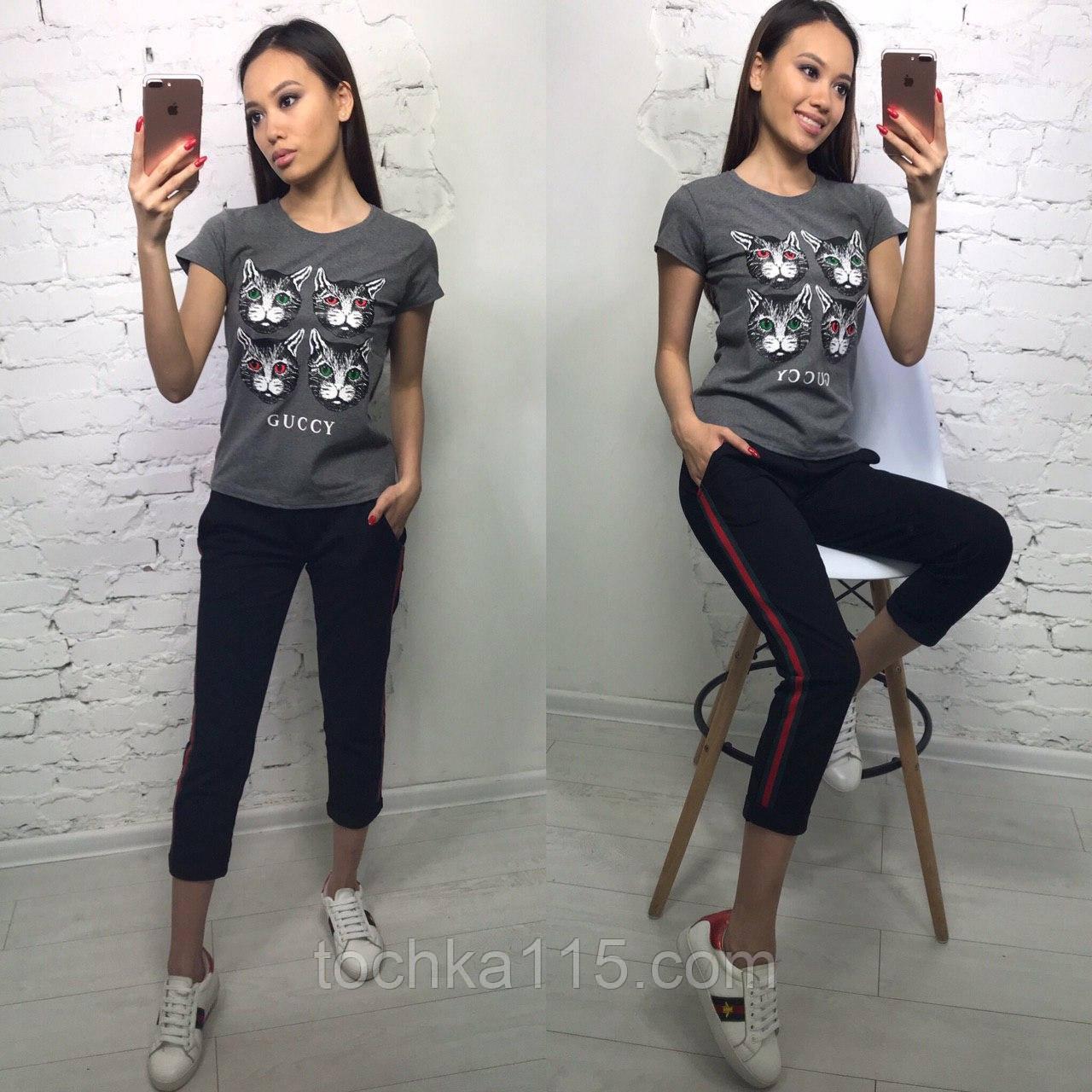 Стильная женская футболка на лето модный принт S/M/L/XL