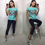 Стильная женская футболка на лето модный принт S/M/L/XL, фото 7