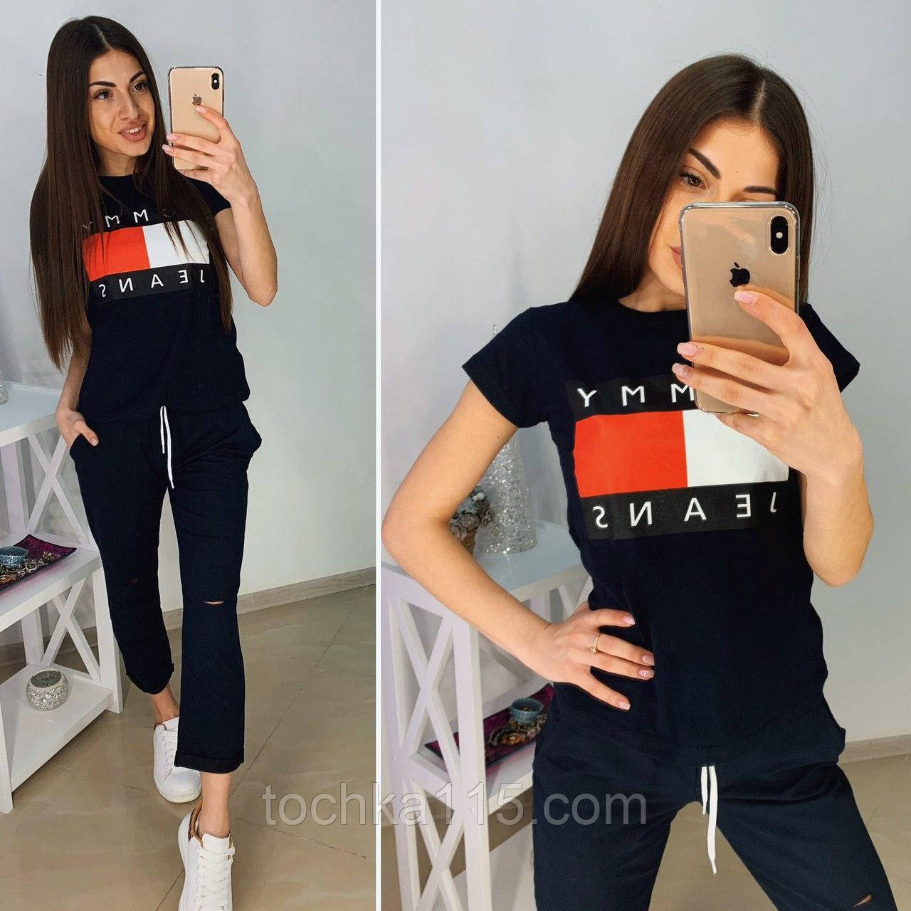 Стильная елая женская футболка TH на лето S/M/L/XL