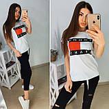 Стильная елая женская футболка TH на лето S/M/L/XL, фото 3