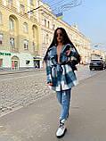 Трендовое кашемировое пальто-рубашка в клетку, 42-46, 46-50 рр, розовый, фото 3