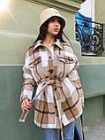 Трендовое кашемировое пальто-рубашка в клетку, 42-46, 46-50 рр, розовый, фото 8